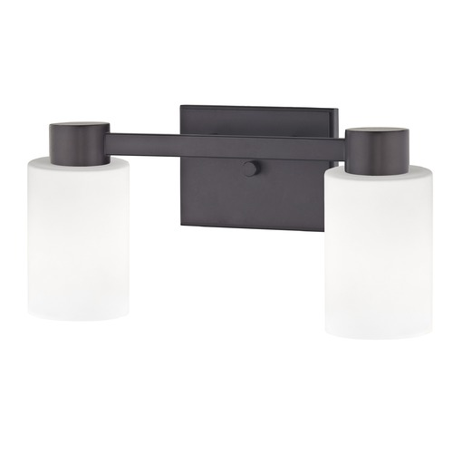 Design Classics Lighting 2-Light White Glass Bathroom Vanity Light Bronze 2102-220 GL1028C