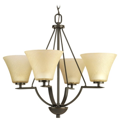 Progress Lighting Progress Chandelier with Brown Glass in Antique Bronze Finish P4622-20