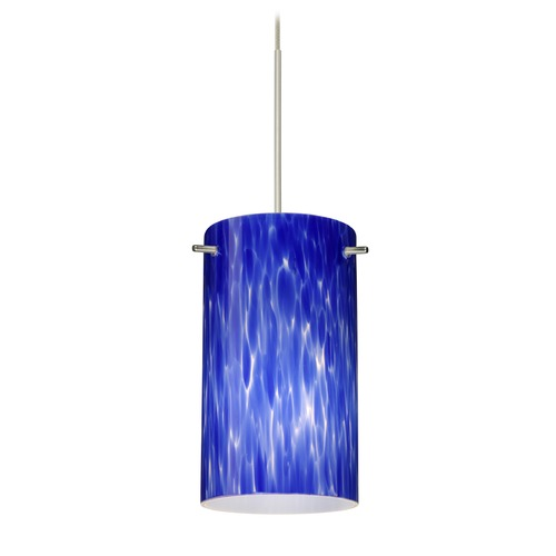 Besa Lighting Besa Lighting Stilo 7 Satin Nickel LED Mini-Pendant Light with Cylindrical Shade 1XT-440486-LED-SN