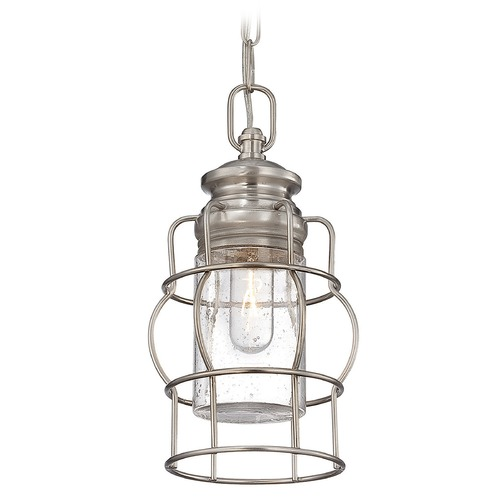 Savoy House Savoy House Satin Nickel Mini-Pendant Light with Cylindrical Shade 7-5061-1-SN