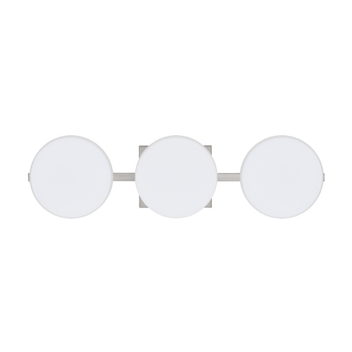 Besa Lighting Bathroom Light with White Glass in Satin Nickel Finish 3WS-773807-SN