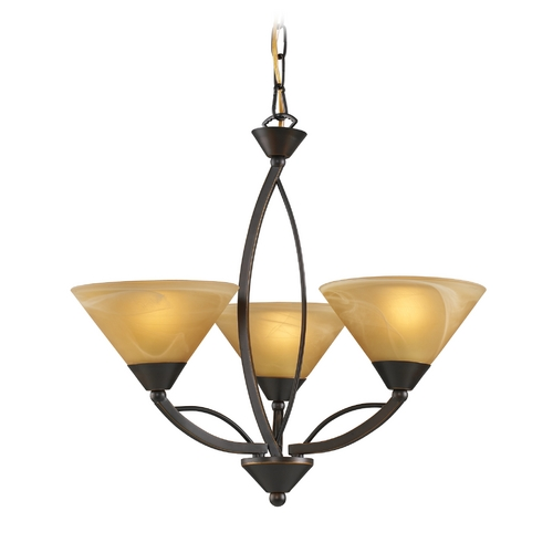 Elk Lighting Modern Mini-Chandelier with Beige / Cream Glass in Aged Bronze Finish 7645/3