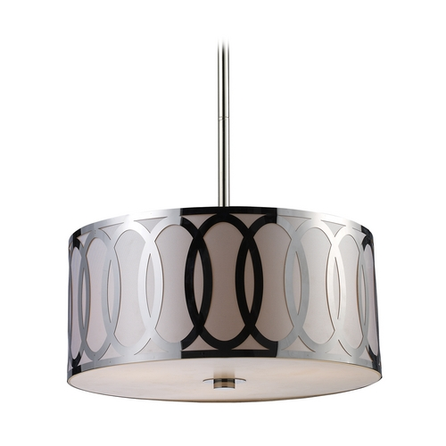 Elk Lighting Modern Drum Pendant Light with Silver Shade in Polished Nickel Finish 10173/3
