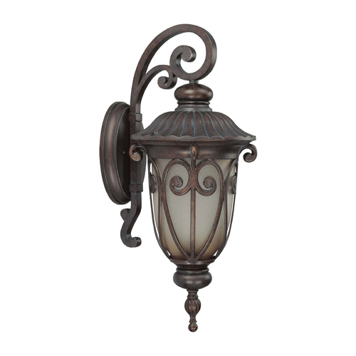 Nuvo Lighting Outdoor Wall Light with Beige / Cream Glass in Burlwood Finish 60/3922