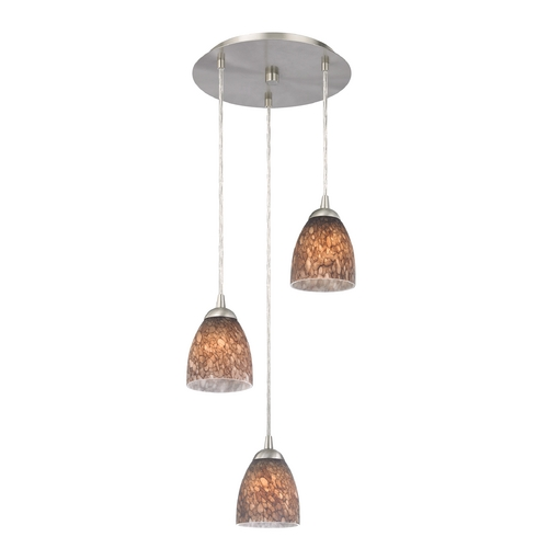 Design Classics Lighting Modern Multi-Light Pendant Light with Brown Art Glass and 3-Lights 583-09 GL1016MB