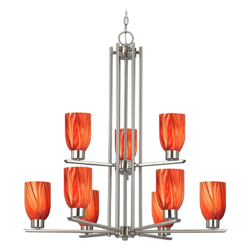 Design Classics Lighting Chandelier with Red Glass in Satin Nickel - 9-Lights 1122-1-09 GL1017D