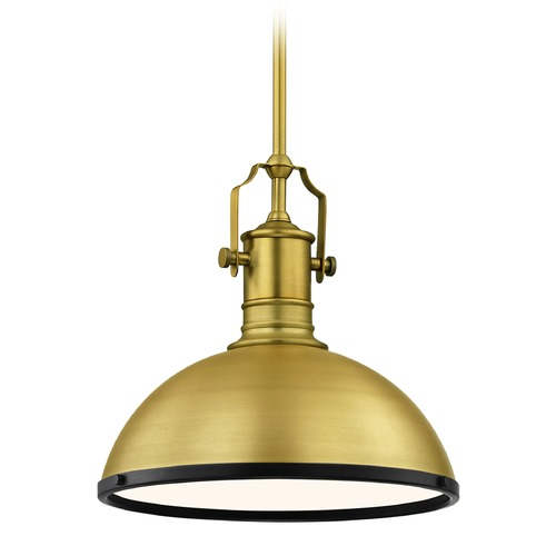 Design Classics Lighting Farmhouse Brass / Black Pendant Light 13.38-Inch Wide 1765-12 SH1776-12 R1776-07