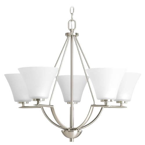 Progress Lighting Progress Chandelier with White Glass in Brushed Nickel Finish P4623-09