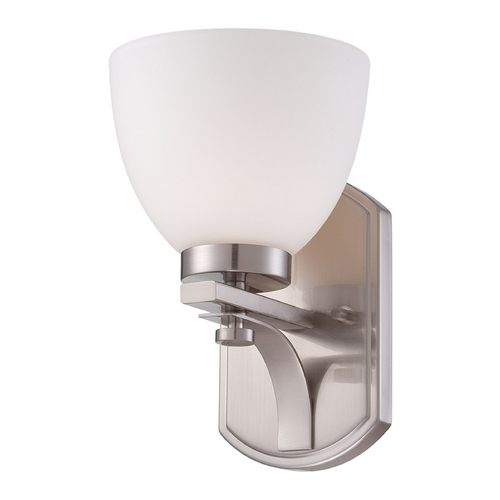 Nuvo Lighting Sconce Wall Light with White Glass in Brushed Nickel Finish 60/5011