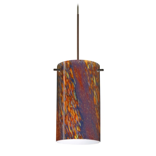 Besa Lighting Besa Lighting Stilo 7 Bronze LED Mini-Pendant Light with Cylindrical Shade 1XT-4404CE-LED-BR