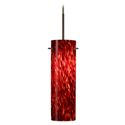 Besa Lighting Besa Lighting Copa Bronze LED Mini-Pendant Light with Cylindrical Shade 1BT-493041-LED-BR