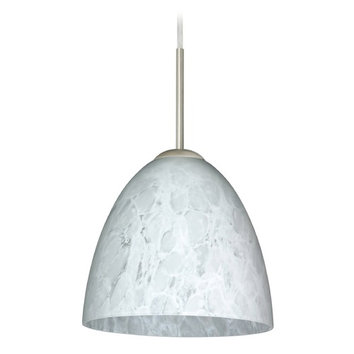 Besa Lighting Besa Lighting Vila Satin Nickel LED Mini-Pendant Light with Bell Shade 1JT-447019-LED-SN