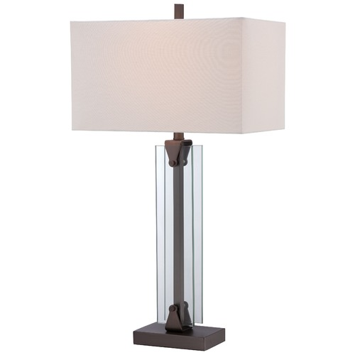 George Kovacs Lighting George Kovacs Portables Harvard Court Bronze Table Lamp with Rectangle Shade P1608-281