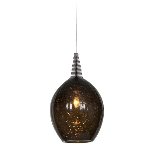 Access Lighting Access Lighting Zeta Brushed Steel Mini-Pendant Light with Oblong Shade 94046-BS/SMK