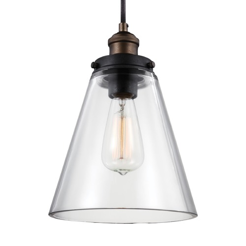 Feiss Lighting Feiss Baskin Painted Aged Brass / Dark Weathered Zinc Mini-Pendant Light P1347PAGB/DWZ