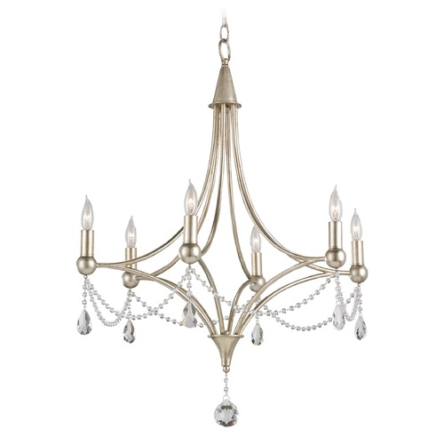 Currey and Company Lighting Currey and Company Lighting Etiquette Chinois Antique Silver Leaf Chandelier 9831