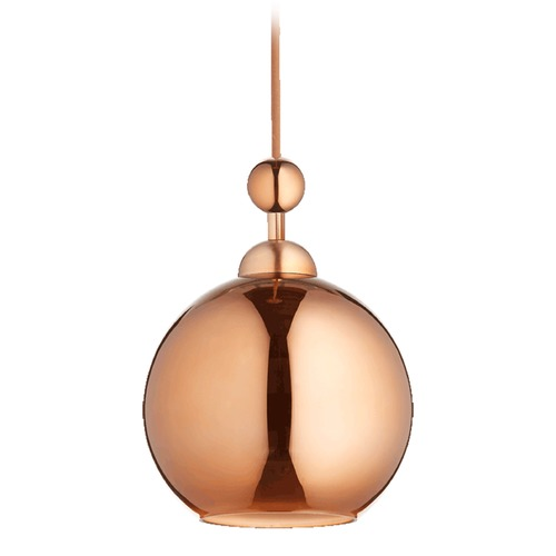 Quorum Lighting Quorum Lighting Satin Copper Mini-Pendant Light with Globe Shade 811-49