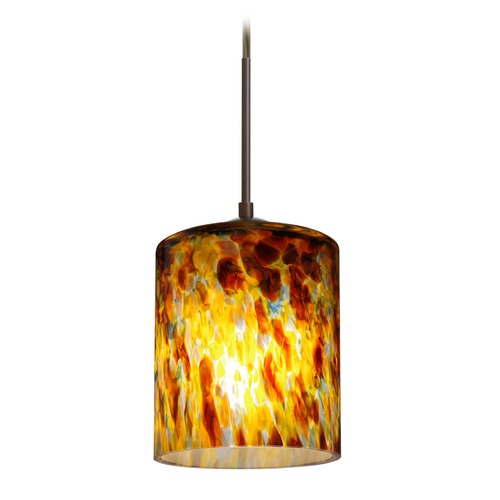 Besa Lighting Besa Lighting Falla Bronze Mini-Pendant Light with Cylindrical Shade 1JT-FAL6QZ-BR