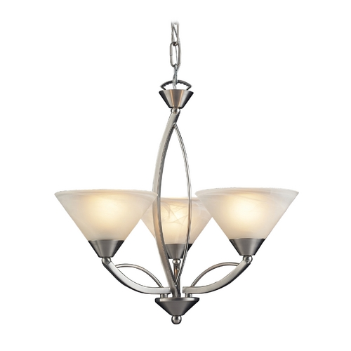 Elk Lighting Modern Mini-Chandelier with White Glass in Satin Nickel Finish 7635/3