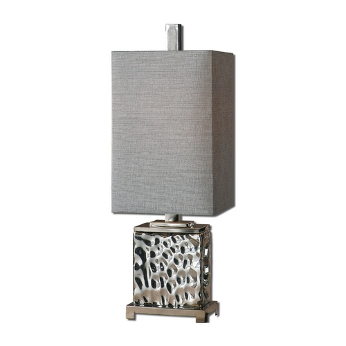 Uttermost Lighting Modern Table Lamp with Grey Shade in Polished Nickel Finish 29927-1