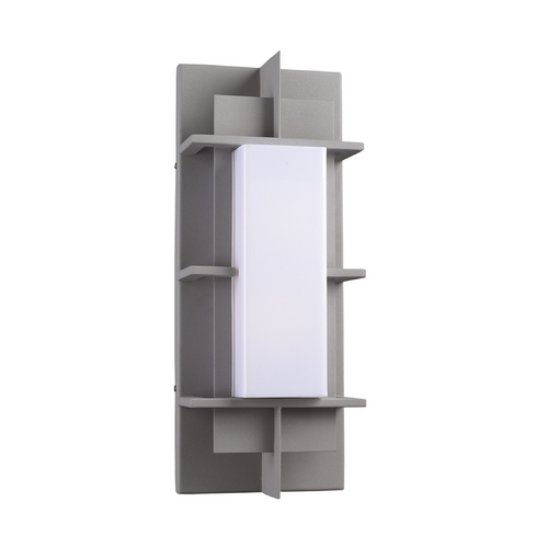 PLC Lighting Modern Outdoor Wall Light with White Glass in Silver Finish 16622 SL