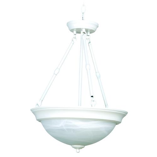 Jeremiah Lighting Jeremiah White Pendant Light with Bowl / Dome Shade X225-W
