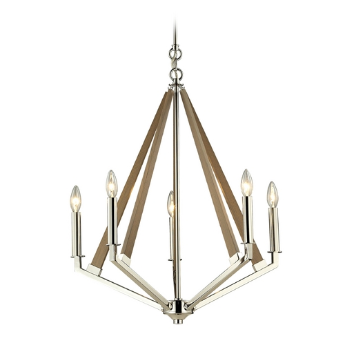 Elk Lighting Modern Chandelier in Polished Nickel Finish 31475/5