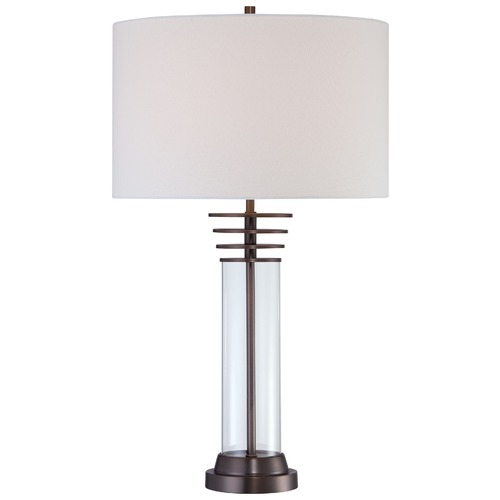 George Kovacs Lighting George Kovacs Portables Harvard Court Bronze Table Lamp with Cylindrical Shade P1609-281