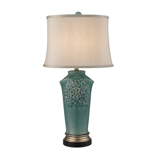 Dimond Lighting Dimond Lighting Medium Seafoam Glaze, Gold, Bronze Table Lamp with Oval Shade D2626