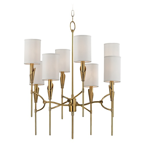 Hudson Valley Lighting Mid-Century Modern Chandelier Brass Tate by Hudson Valley Lighting 1304-AGB