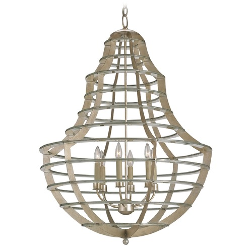 Currey and Company Lighting Currey and Company Lighting Everest Silver Leaf Chandelier 9619