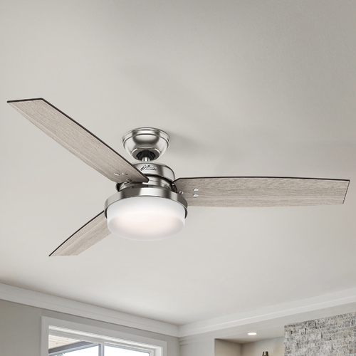 Hunter Fan Company Hunter 52-Inch Brushed Nickel LED Ceiling Fan with Light with Hand-Held Remote 59157