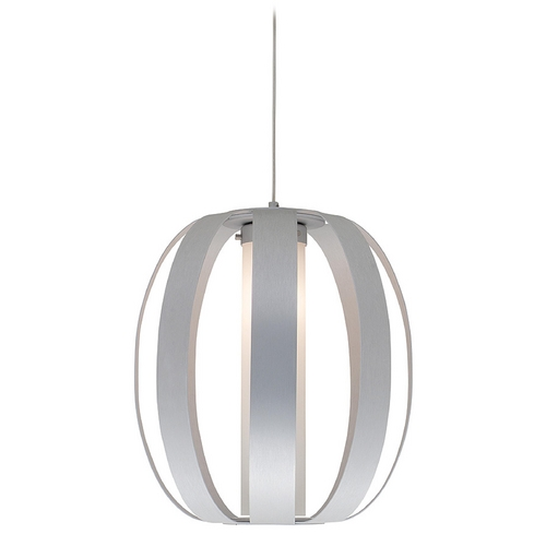 Access Lighting Modern Pendant Light with White Glass in Aluminum Finish 23426-ALU/OPL