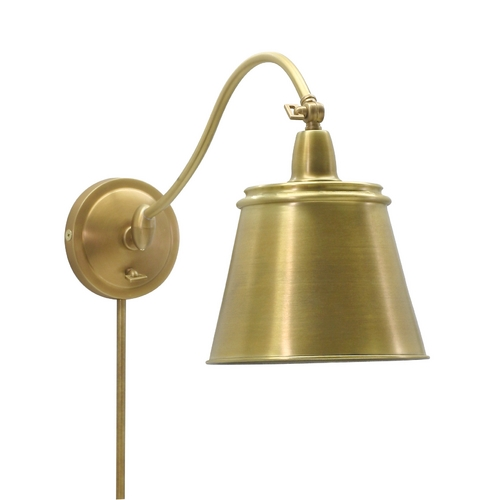 House of Troy Lighting Plug-In Wall Lamp in Weathered Brass Finish HP725-WB-MSWB