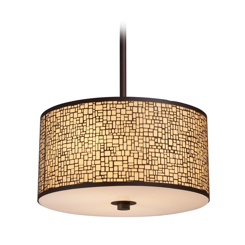 Elk Lighting Modern Drum Pendant Light with Amber Glass in Aged Bronze Finish 31046/3