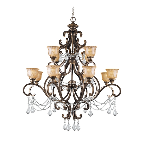 Crystorama Lighting Crystal Chandelier with Amber Glass in Bronze Umber Finish 7512-BU-CL-S