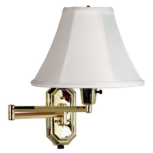 Kenroy Home Lighting Swing Arm Lamp with White Shade in Polished Brass Finish 30130PB