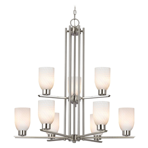 Design Classics Lighting Chandelier with White Glass in Satin Nickel - 9-Lights 1122-1-09 GL1020D