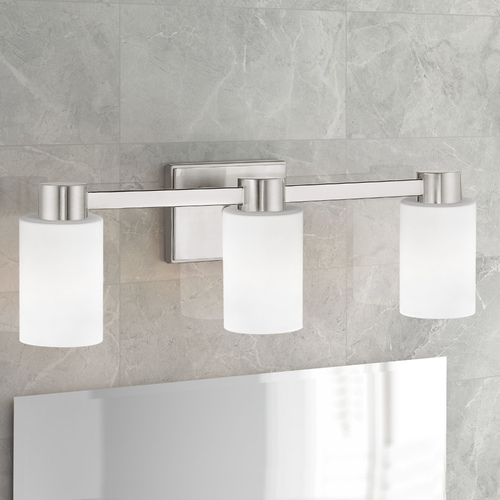 Design Classics Lighting 3-Light White Glass Bathroom Vanity Light Satin Nickel 2103-09 GL1028C