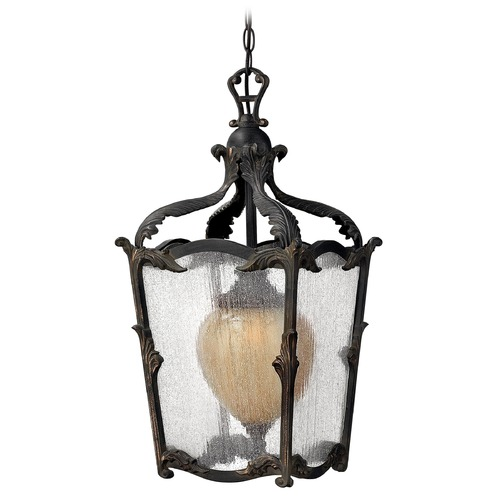 Hinkley Lighting Seeded Glass Outdoor Hanging Light Iron Hinkley Lighting 1422AI