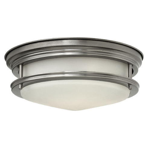 Hinkley Lighting Flushmount Light with White Glass in Antique Nickel Finish 3302AN