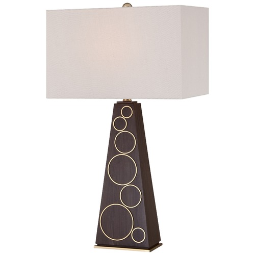 George Kovacs Lighting George Kovacs Portables Dark Walnut with Honey Gold Accents Table Lamp with Rectangle Shade P1610-0