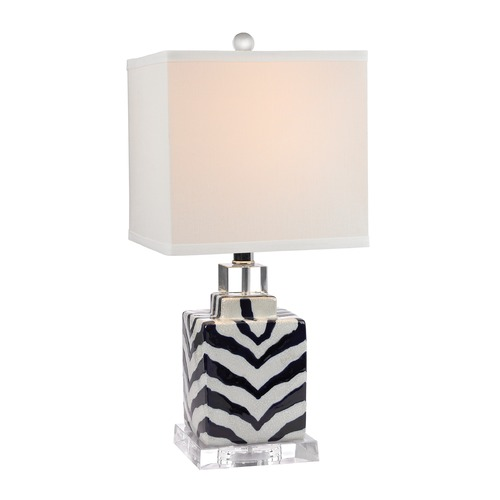 Dimond Lighting Dimond Lighting Navy, White Crackle Glaze Table Lamp with Square Shade D2638
