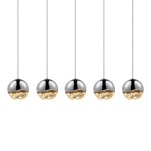 Sonneman Lighting Sonneman Grapes Polished Chrome 5 Light LED Multi-Light Pendant   2921.01-LRG