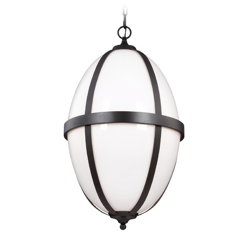Feiss Lighting Feiss Lighting Amato Oil Rubbed Bronze Pendant Light with Oval Shade F3057/3ORB