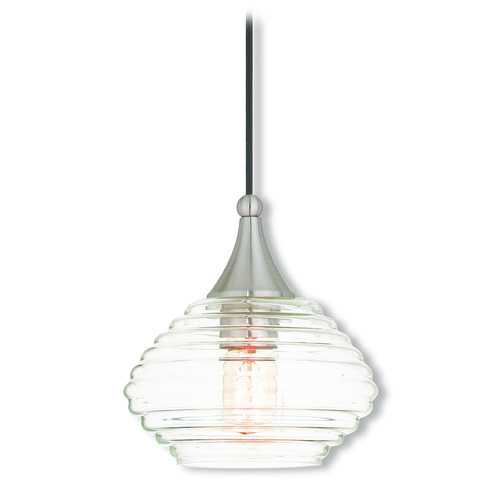 Livex Lighting Livex Lighting Art Glass Mini Pendant Brushed Nickel Mini-Pendant Light with Bowl / Dome Shade 40610-91