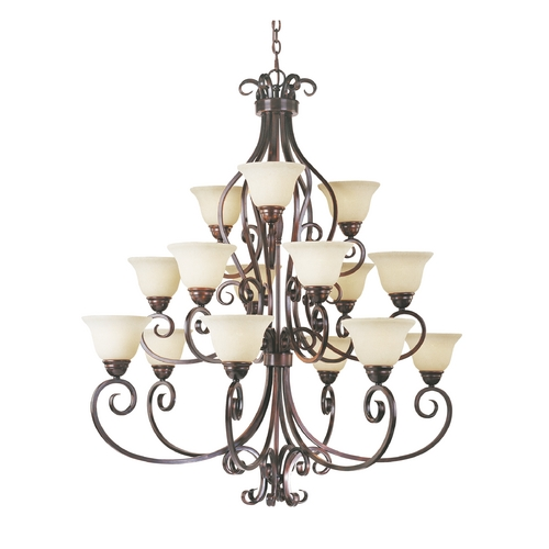 Maxim Lighting Chandelier with Ivory Glass in Oil Rubbed Bronze Finish 12209FIOI