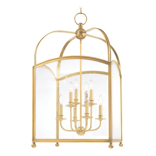 Hudson Valley Lighting Pendant Light with Clear Glass in Aged Brass Finish 8420-AGB