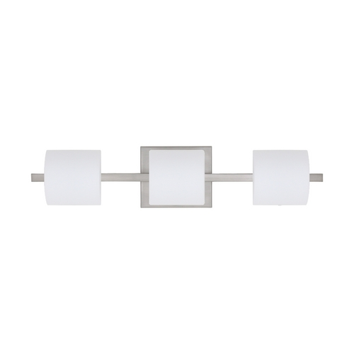 Besa Lighting Modern Bathroom Light with White Glass in Satin Nickel Finish 3WS-787307-SN