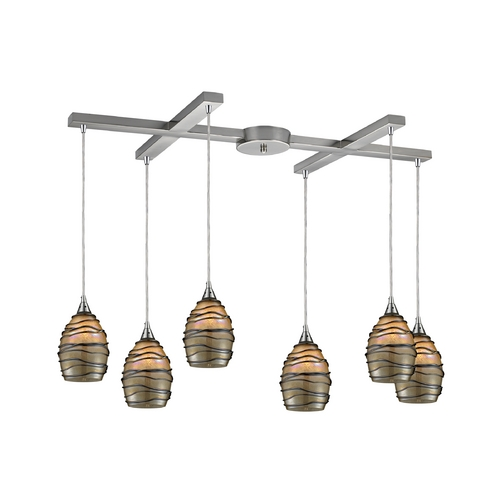 Elk Lighting Modern Multi-Light Pendant Light with Alabaster Glass and 6-Lights 31142/6